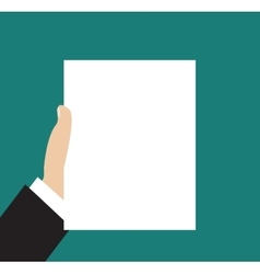 Business man hand holding paper vector image vector image