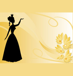 leaflet background with black victorian lady vector image vector image