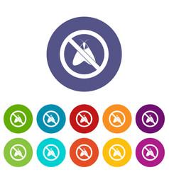 no moth sign set icons vector image