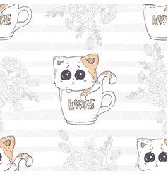 seamless pattern with cute hand drawn kitten in a vector image vector image