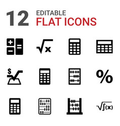 12 calculation icons vector