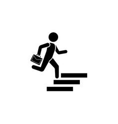 a man with a briefcase runs up the stairs vector image