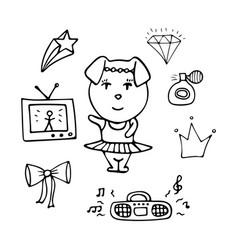 Amusing monochrome pig the dancer in a tutu vector