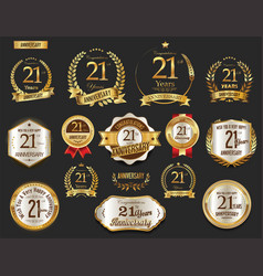 Anniversary golden laurel wreath and badges 21 vector