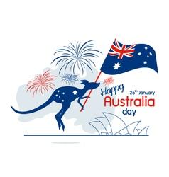 Australia day design kangaroo and flag with fir vector