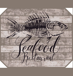 banner for seafood restaurant with picture of fish vector image