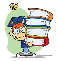 Bee Over A Graduation Boy With Books vector image