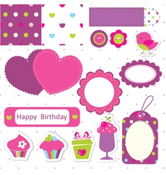 Birthday scrapbook set vector