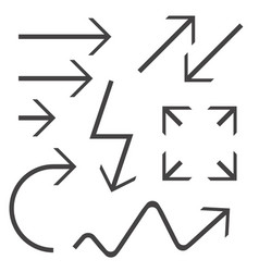 black arrows set black icon vector image