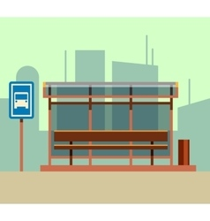 Bus stop in city landscape flat vector