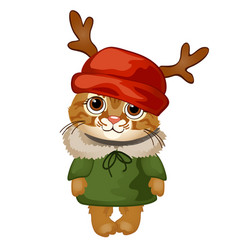 Cartoon cute kitten in a red hat with antlers vector