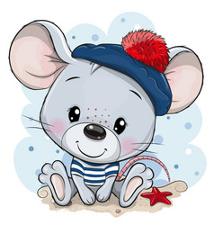 cartoon mouse in sailor costume vector image