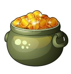 Cauldron with money isolated on white background vector image