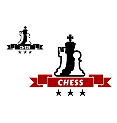 Chess emblem with different chessmen vector