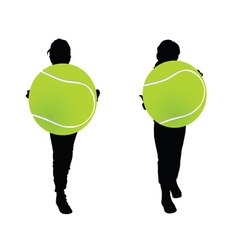Children with tennis ball silhouette vector