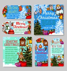 christmas and new year holiday gift tag and card vector image