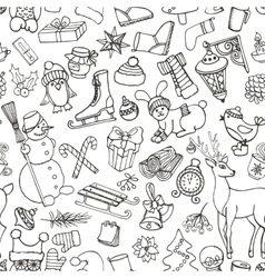 Christmas seasonDoodle symbolsSeamless pattern vector image