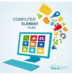 computer display keyboard icon vector image