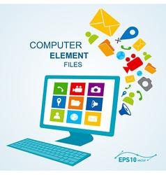 Computer display keyboard icon vector