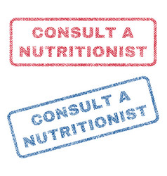 Consult a nutritionist textile stamps vector