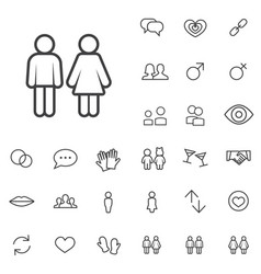 Couple outline thin flat digital icon set vector