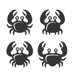 crab icon set on white background vector image