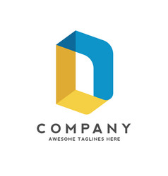 creative letter d colorful isometric style logo vector image