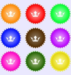 Crown icon sign A set of nine different colored vector image