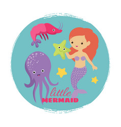 cute cartoon little mermaid card template vector image
