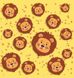 cute lion yellow seamless pattern vector image
