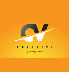 Cv c v letter modern logo design with yellow vector