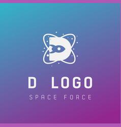 D initial space force logo design galaxy rocket vector