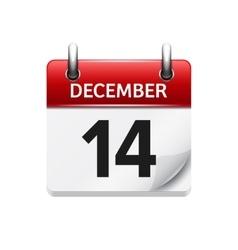 December 14 flat daily calendar icon vector