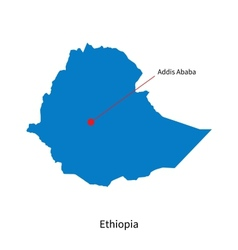 Detailed map of Ethiopia and capital city Addis vector image