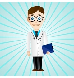 Doctor with medical chart clipboard vector