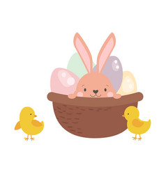 easter rabbit character bunny in basket with eggs vector image