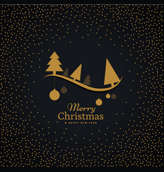 elegant golden christmas greeting with hanging vector image