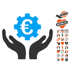 euro maintenance hands icon with valentine bonus vector image