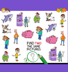 Find two the same pictures cartoon game vector