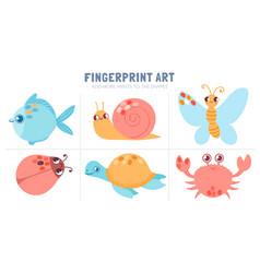finger prints kid activity worksheet coloring vector image