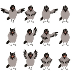 Flat icons of Crows set vector image vector image