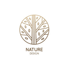 Forest logo template in linear style abstract vector
