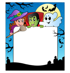 Frame with halloween characters 2 vector