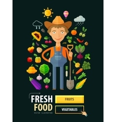 Fresh food logo design template Gardening vector image