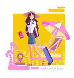 Girl with a suitcase travels eps 10 vector