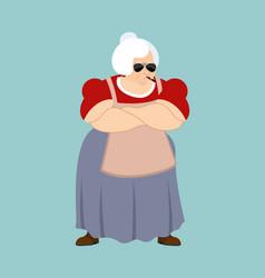 grandmother strong cool serious grandma smoking vector image
