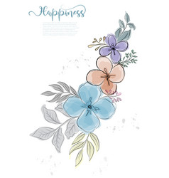 hand drawn cute flowers blossom with black line vector image