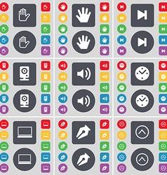 Hand Media skip Speaker Sound Clock Laptop Ink pen vector image