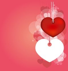 Hanging hearts with love blank page vector