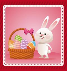 happy easter bunny egg decorative celebration vector image